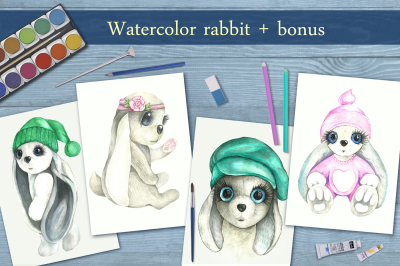 Cute rabbits in watercolors