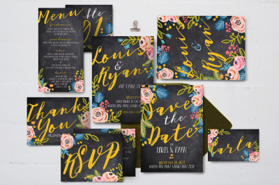 Black Floral Wedding Package Suite