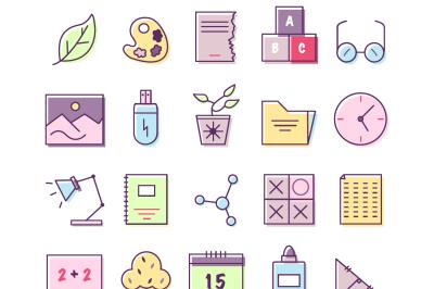 100 Flat Education Icons
