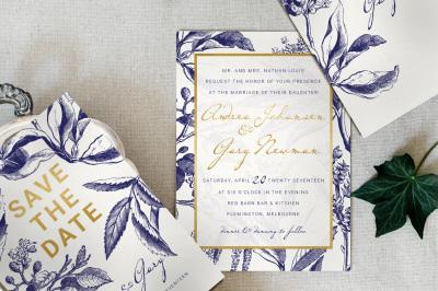 Gold & Navy Wedding Invitation Suite