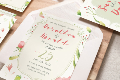Foliage Illustration Wedding Invitation Suite
