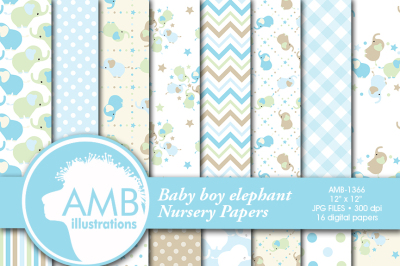 Nursery patterns, Baby papers, Newborn papers, Nursery Pastel papers, elephant papers,  AMB-1366