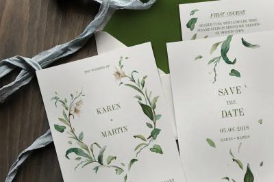 Green Foliage Wedding Invitation Suite
