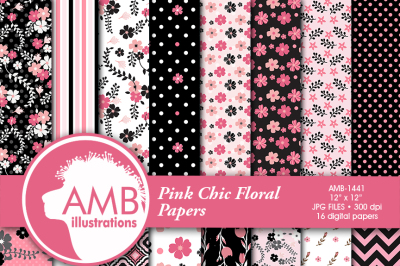 Floral patterns, papers, Shabby Chic papers, Pinks and Black, scrapbook papers,AMB-1441