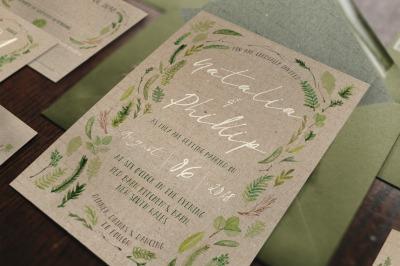 Watercolor Foliage Wedding Invitation Suite