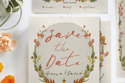 Autumn Floral Wedding Invitation Suite