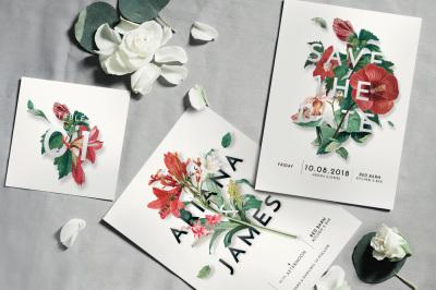 Modern Vintage Floral Wedding Invitation Suite
