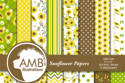 Sunflower patterns, Sunflower Scrapbook papers, Floral Papers, AMB-1428