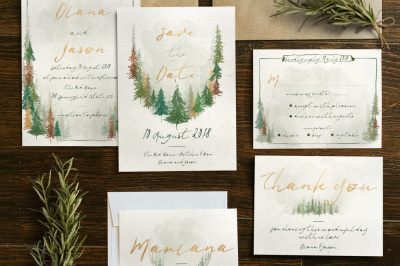 Watercolor Forest Wedding Invitation Suite