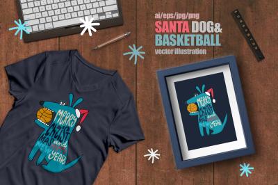 Santa Dog&Basketball