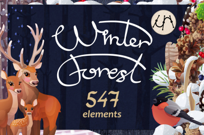 Christmas vector Set Winter Forest