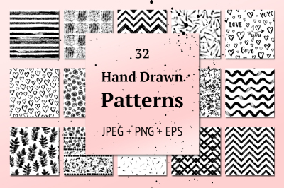 32 Hand Drawn Seamless Patterns