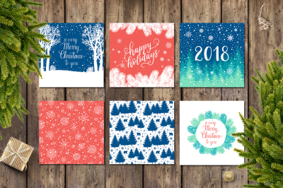 12 Holiday cards + 12 patterns