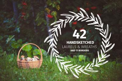 43 Handsketched Laurels & Wreaths