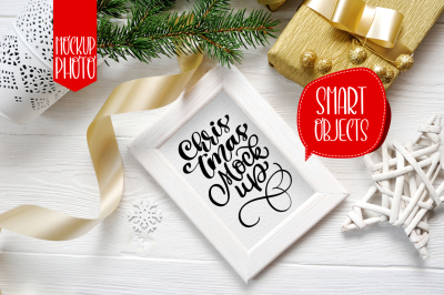 Christmas wooden frame with smart object