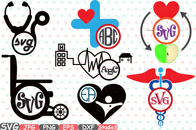 Circle Doctor Medic Silhouette travel City Buildings Silhouette SVG Cutting Files Digital Clip Art Graphic Studio3 cricut cuttable Die Cut Machines Vinyl sale Nurse hospital medicine ADN stickers biology Medicals tools heart love snake blood med school 235S