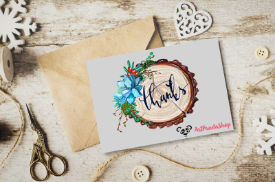 Watercolor clip art Rustic Cross section of tree trunk show