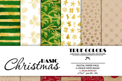 Basic Digital Paper Pack Basic Christmas Digital Paper Pack Basic Scrapbook Paper Kit Christmas Digital Gold Glitter Gold Foil Digital Paper