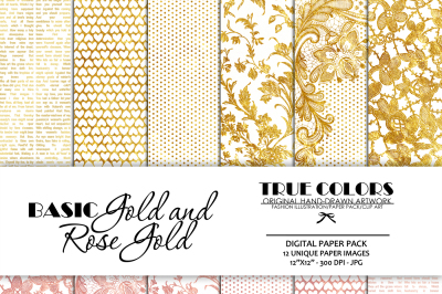 Gold Foil Digital Paper Gold Foil Digital Pack Gold Foil Pattern Gold Foil Lace Rose Gold Digital Paper Rose Gold Pack Rose Gold Pattern