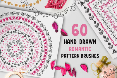 60 Hand Drawn Romantic Pattern Brushes