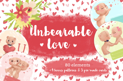 Unbearable love clip-art set