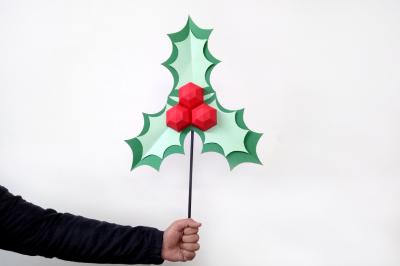 DIY Christmas Holly Stick - 3d papercraft