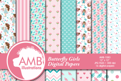 Butterfly patterns, designs, papers AMB-1083