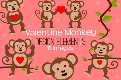 Valentine Monkey Design Elements, Clipart