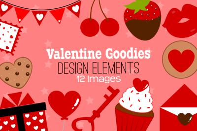 Valentine Goodies Design Elements, Clipart