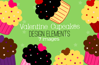 Valentine Cupcakes Design Elements, Clipart
