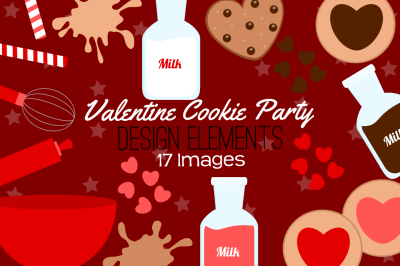 Valentine Cookie Party Design Elements, Clipart
