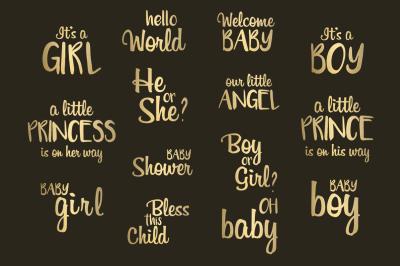 Baby Shower Gold Foil Word Art