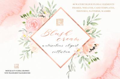 Blush cream watercolour flowers Digital clipart hand drawn.