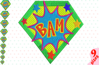 Bam Comic Book Embroidery Design Machine Instant Download Commercial Use digital file icon symbol sign pop superhero Speech Bubbles super hero pop art word 149b