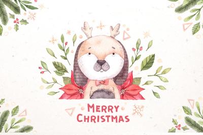 Watercolor christmas dogs kit. Xmas