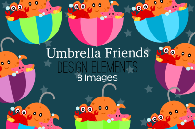 Umbrella Friends Design Elements, Clipart