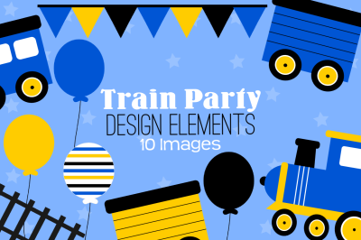 Train Party Design Elements, Clipart