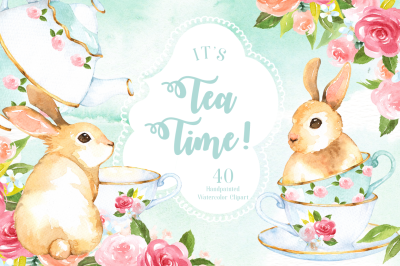 It's Tea Time! Watercolor Cliparts