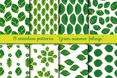Green Summer Foliage Collection: leaves and patterns