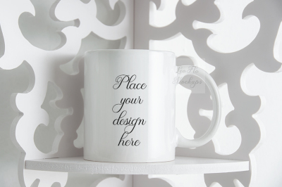 Monochromatic coffee mug mock up white cup template elegant background