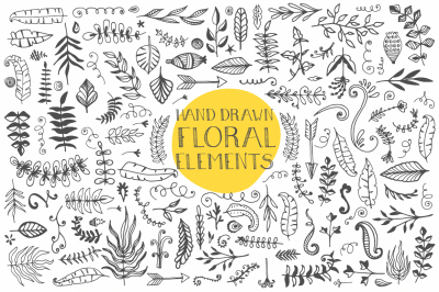 120+ Hand Drawn Floral Elements