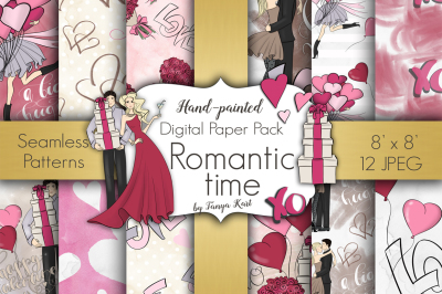 Romantic Time Digital Paper Pack