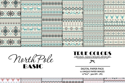 Nordic Basic Digital Paper Christmas Basic Digital Pack Blue Snowflake Digital Paper Winter Nordic Paper North Pole Digital Paper Pack Grey