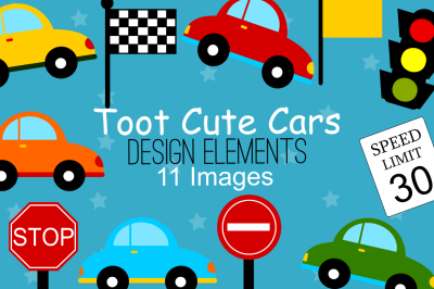 Cute Cars Design Elements, Clipart