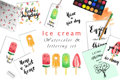 Ice cream - watercolor and lettering set