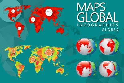 Globes and world maps set