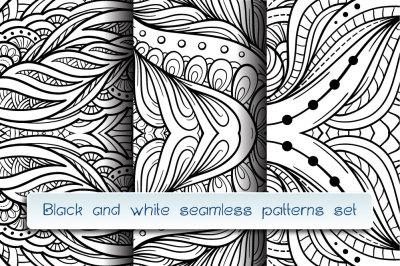 Black and white seamless patterns mini-set