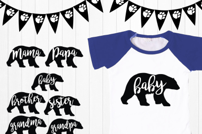 Mama Bear svg, Papa Bear, Baby Bear, sister bear, brother, grandma Bear Family svg, Bear Silhouette, Bear svg, png, eps, ai, Bear Clipart