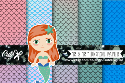 Mermaid Digital Papers, Nautical Papers, Ocean papers, Mermaid papers, Mermaids, mermaid scales paper, mermaid clipart