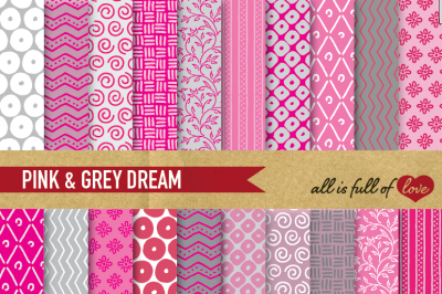 Hand drawn Pink Grey Digital Paper Pack: Dream Collection